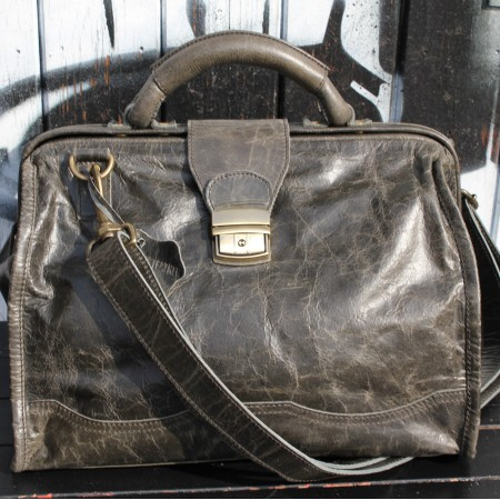 Doctor Bag Medium Charcoal Leather