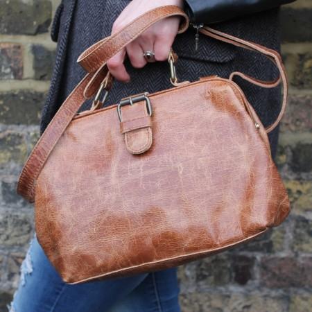 MInidoc Doctor Small Distressed Tan Leather Bag