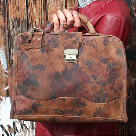 Doctor Bag Medium Floral no 14 Darkest Suede