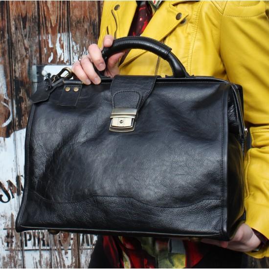 Doctor Bag Medium  Black Leather