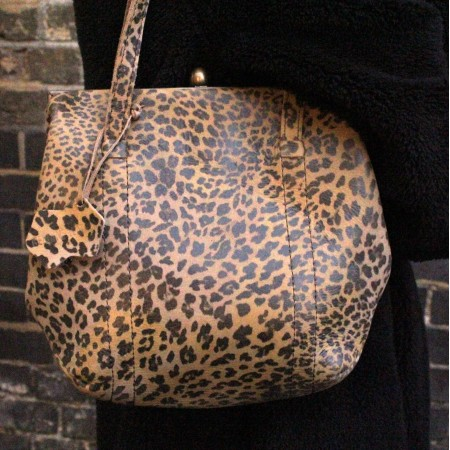 Dolly Clipframe Leopardprint Shoulder Bag Leather