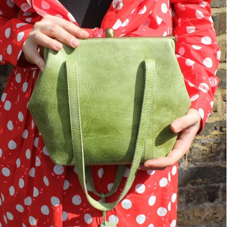 Dolly Framebag Shoulder Bag Apple Green Leather