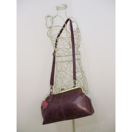 Doris Claspframe Purple Leather Crossbody bag