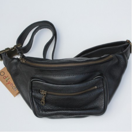 Double Bumbag or Chestbag Black Leather