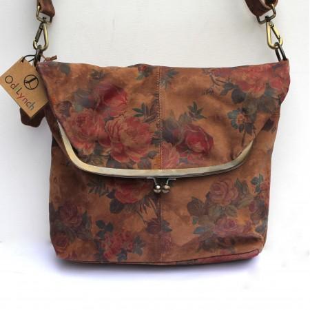 Dublin Large Clip Bag Dark Floral Leather