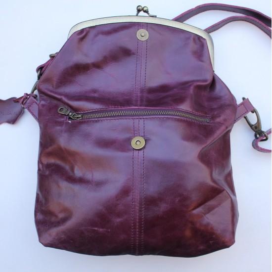 Dublin Medium Clip Bag Purple Leather