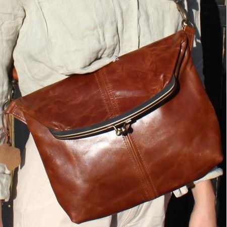 Dublin Medium Clipframe Tan Crossbody Foldover Handbag