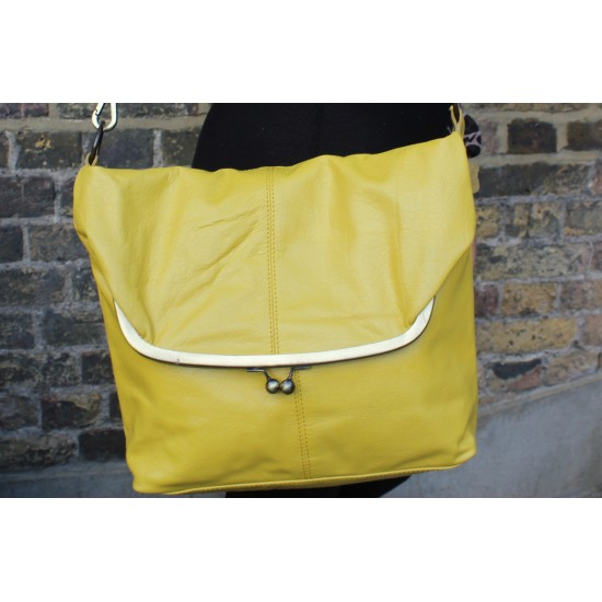 Dublin Large Clip Bag Yellow Leather