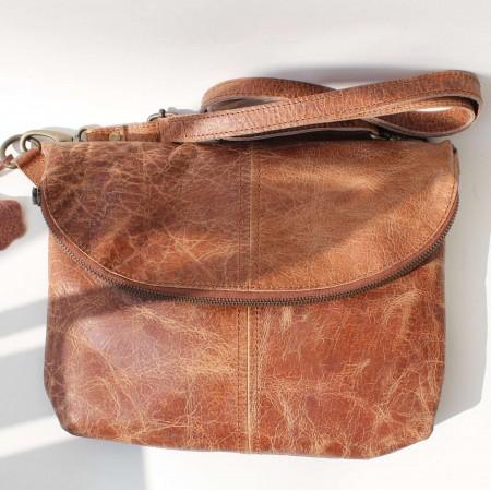 Dublin Medium Zipped Flapover Tan Scrunchy Leather Bag