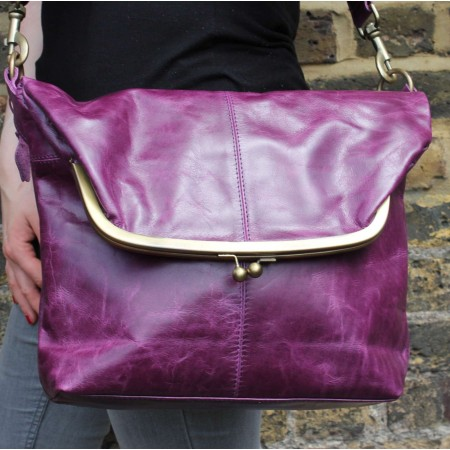 Dublin Large Clip Bag Purple Leather