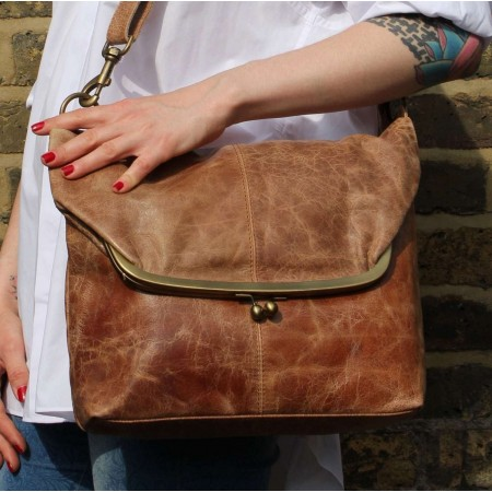 Dublin Large Clip Bag Tan Leather