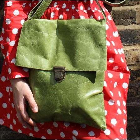 Envelope Large Messenger Bag  Apple Green Leather Pushlock