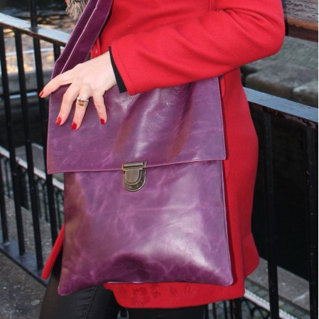 Envelope Messenger Large Purple Leather Bag