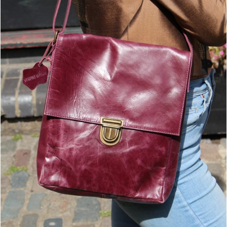 Envelope Messenger Medium Pushthrough Purple Leather Bag
