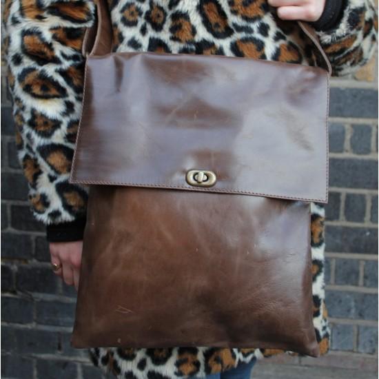 Envelope Messenger Bag Brown Leather Twister Lock