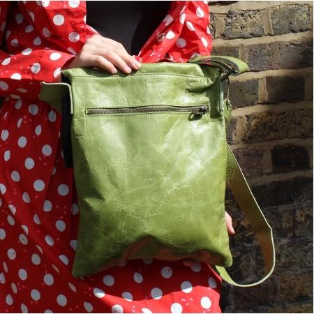 Envelope Large Messenger Bag  Apple Green Leather Pushlock
