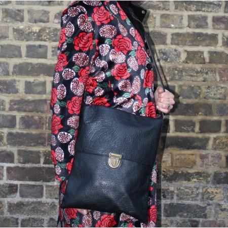 Envelope Messenger Foldover Black Leather Crossbody Bag