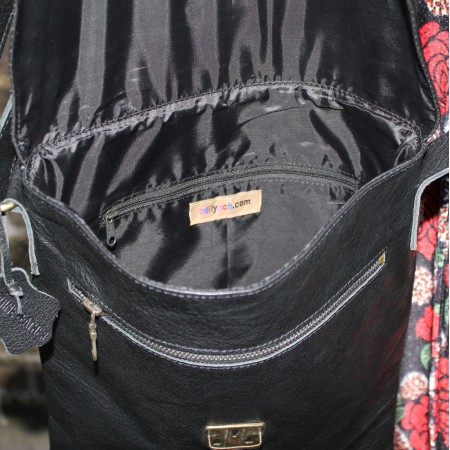 Black Large Leather Messenger