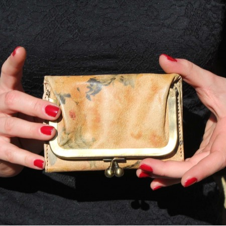 Evanna Clip Wallet Floral Leather