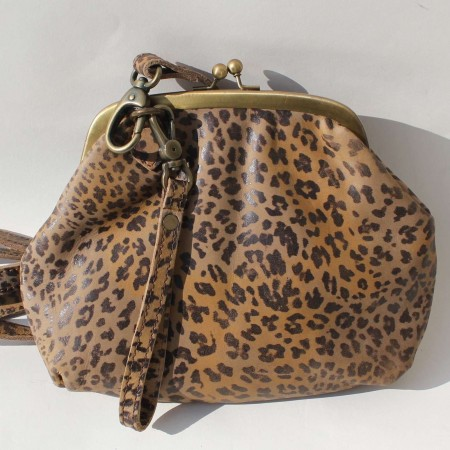 Evanna Clipframe Bag Leopard Print Leather