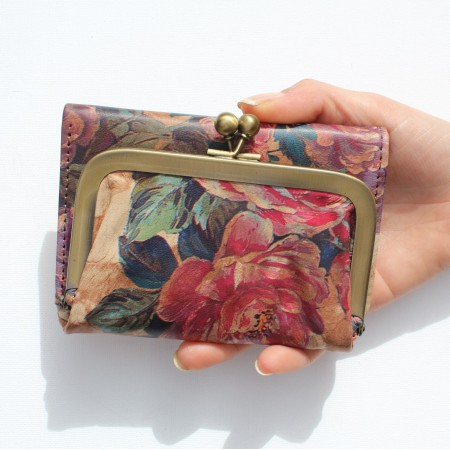 Evanna Small Clipframe Wallet Floral 14 Printed Leather