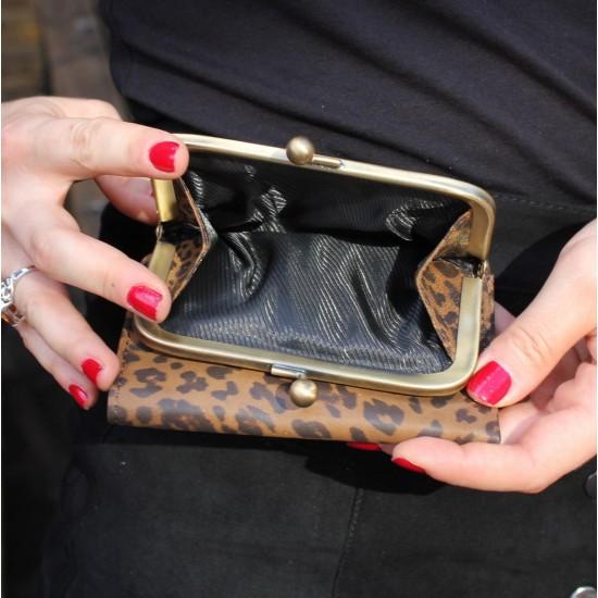 Evanna Clip Wallet Leopard Print Leather
