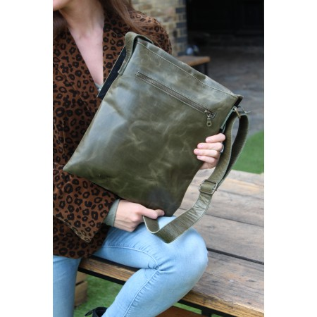 Envelope Messenger Bag Foldover Pushthrough Olive Green Leather
