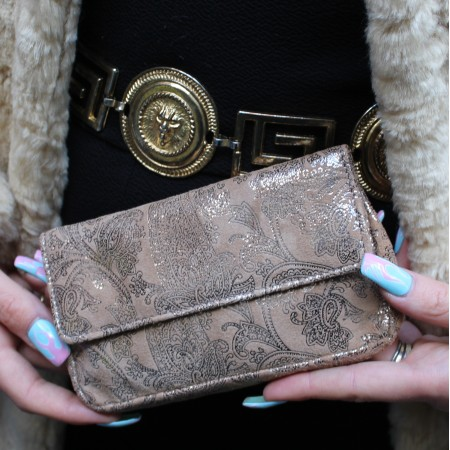 Francesca Pouch Silver And Tan Paisley Leather