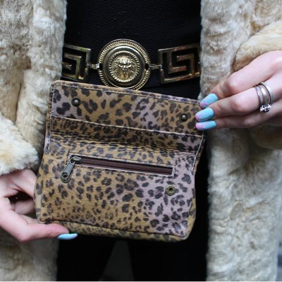 Francesca Pouch Makeup Bag Leopardprint Leather