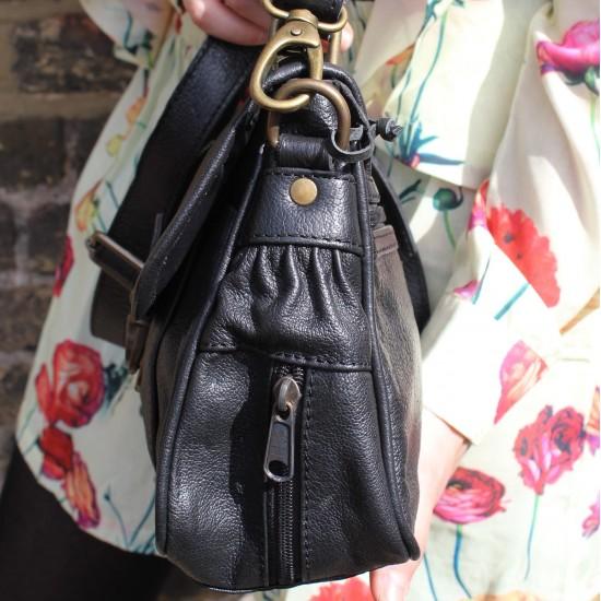 Funky Bag Black Leather Mini Satchel