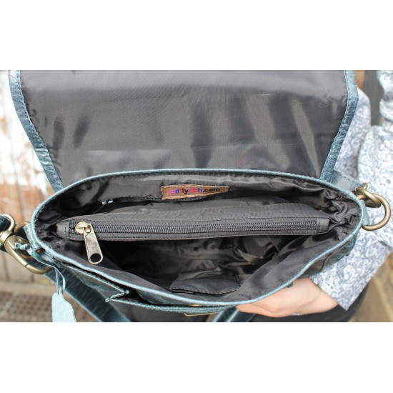 Funky Navy Leather Mini Satchel Scrunchy Bag