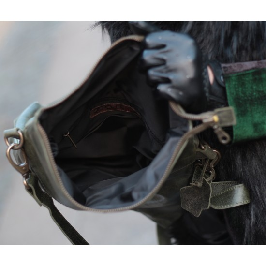 Amelie Crossbody Messenger Bag Olive Leather