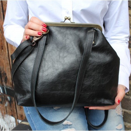 Maya Medium Clipframe Bag Black Leather