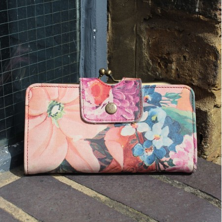 Evanna Large Clip Wallet French Floral Print