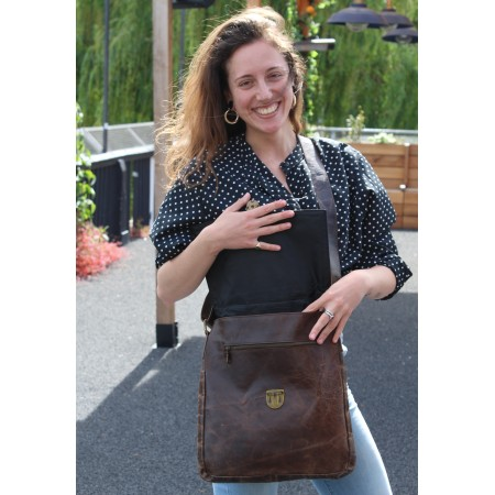 Large Leather Messenger Brown