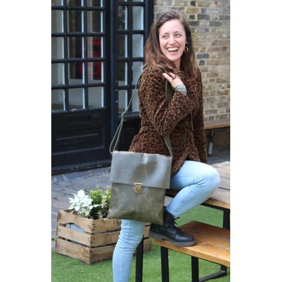 Envelope Messenger Bag Foldover Pushthrough Olive Green Leather