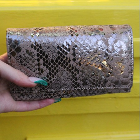 Madamzel Silver Snake Print Leather Wallet