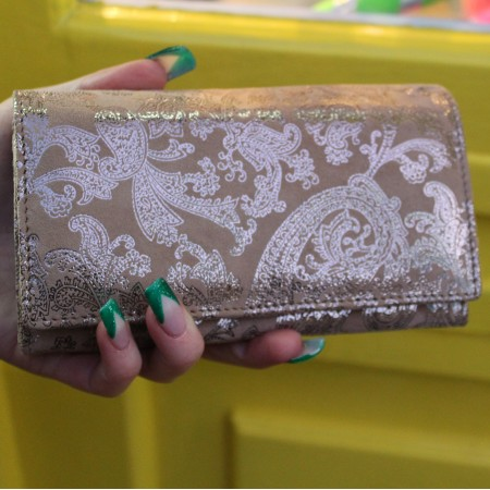Madamzel Paisley Leather Wallet Silver & Gold