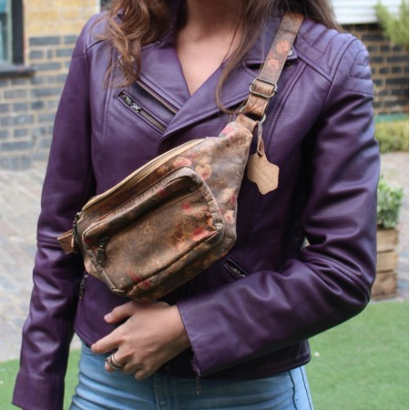 Double-Pocketed Bumbag No 21 Tan Floralprinted Leather