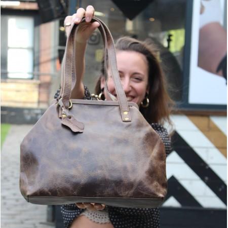 Half Maya Framed bag Brown Distressed Leather