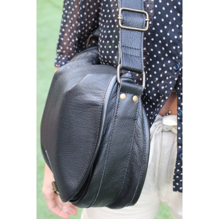 Isabelle Saddle Bag Large Black Leather