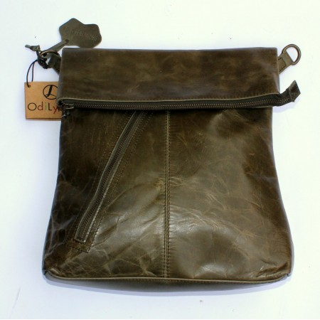 Amelie Crossbody Messenger Bag Olive Leather