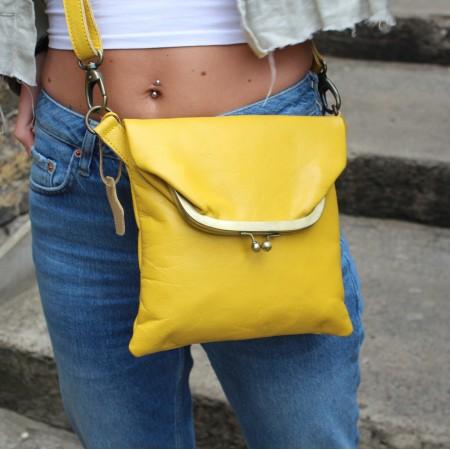 Mini Dublin Clip Bag Yellow Leather