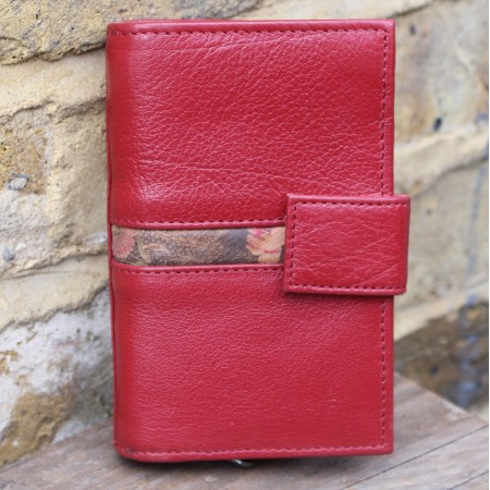 Fifi Leather Wallet in Red with Floral