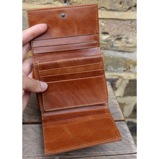 Small Leather Trifold Wallet Tan