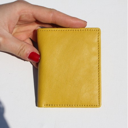 Oyster Card Holder Yellow Leather