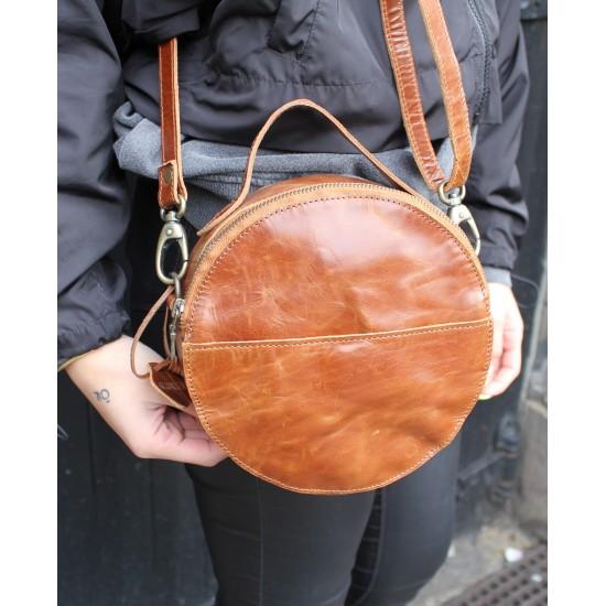 Rupert Round Crossbody Bag Tan Leather