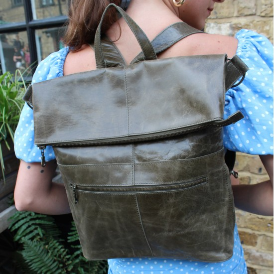 Belgian Convertible Backpack Olive Green Leather