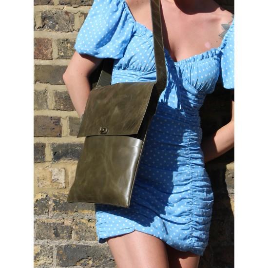 Messenger Bag Twister Bag Olive Green Leather