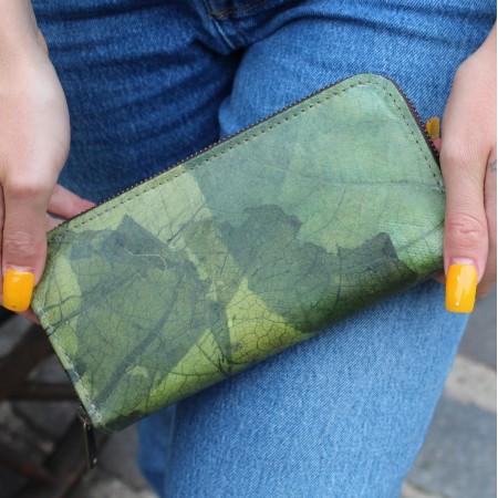 Green Teak Leaf Wallet Vegan